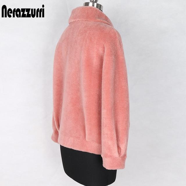 Nerazzurri Winter real fur coat women Short sheep wool jackets Genuine lamb shearling coats fluffy jacket Fur jackets for women