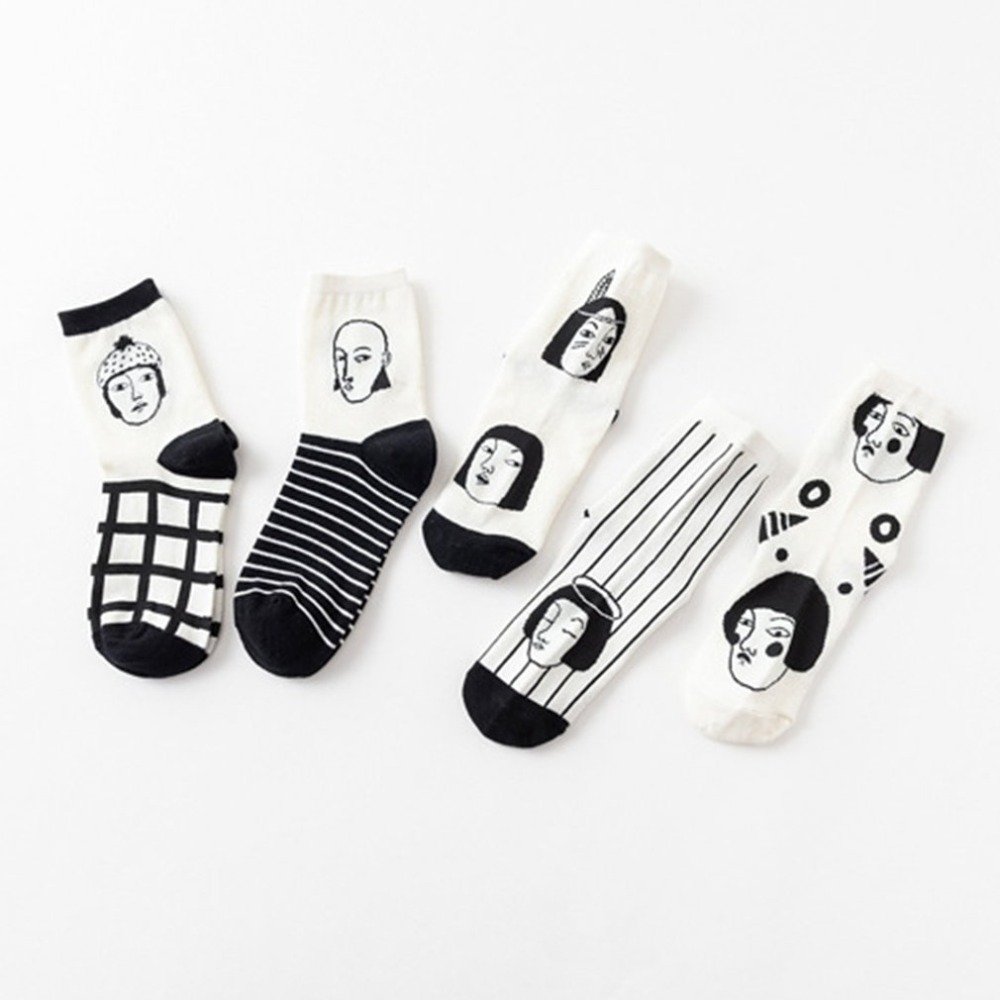 Harajuku Funny Socks Women Cotton People Avatar Cartoon Pattern Women's Socks Personality Striped Socks Chaussettes Femmes