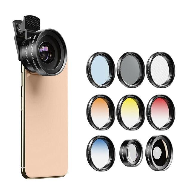 APEXEL 9in1 37mm Gradient filter Lens Kit 0.45x wide+15x macro Lens Gradual Blue Red Color Filter+CPL+ND+Star Filter for phones