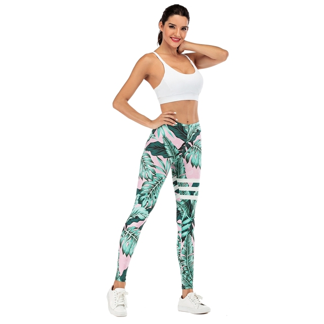 Brand Sexy Women Legging leaf Printing Fitness leggins Fashion Slim legins High Waist Leggings Woman Pants 3