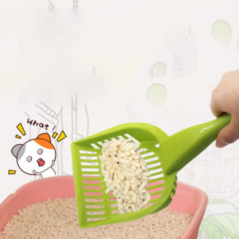 Pet Care Sand Waste Scooper Shovel Plastic Cat Litter Scoop Hollow Cleaning Tool Long Handle Cleaning Shovel For Cat Litter
