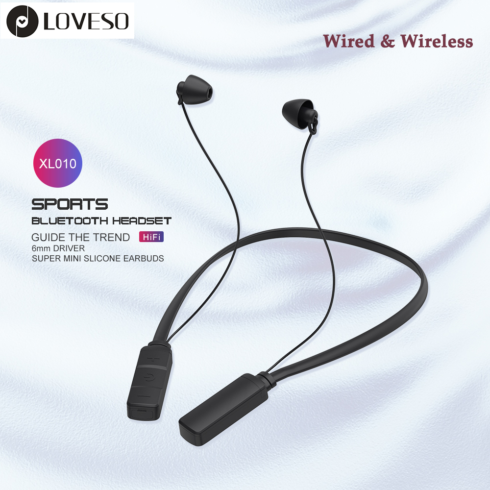 Loveso Neckband Wireless Stereo Wired Bluetooth Earphones Sports Hifi Bass Earbuds Headset With Wired Control For Xiaomi Iphone Bluetooth Earphones Headphones Aliexpress