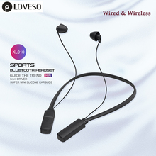 LOVESO Neckband Wireless Stereo +Wired Bluetooth Earphones Sports HIFI Bass Earbuds Headset With Wired Control For Xiaomi iPhone