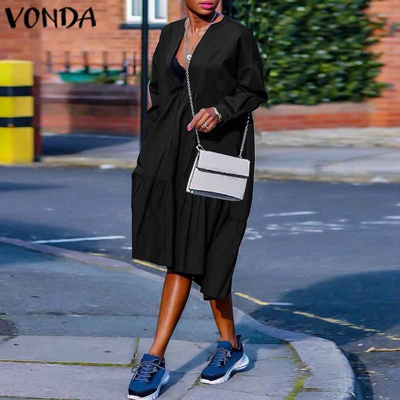 VONDA 2020 Plus Size Summer Sundress Women Dress Vintage Long Sleeve Black Party Maxi Long Dress Party Vestido Casual Robe S-5XL