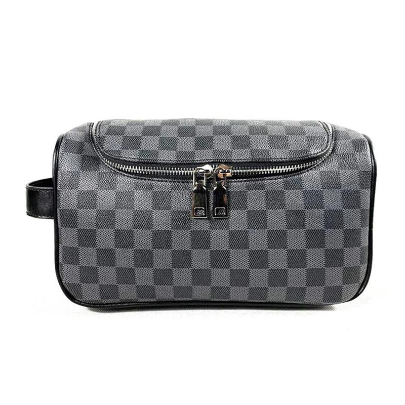 HORIZONPLUS EUROPE AND AMERICA  GRID CHECK PLAID PATTERN MEN`S DOP KIT  WASH BAG TOILETRY BAG TRAVEL ACCESSORIES