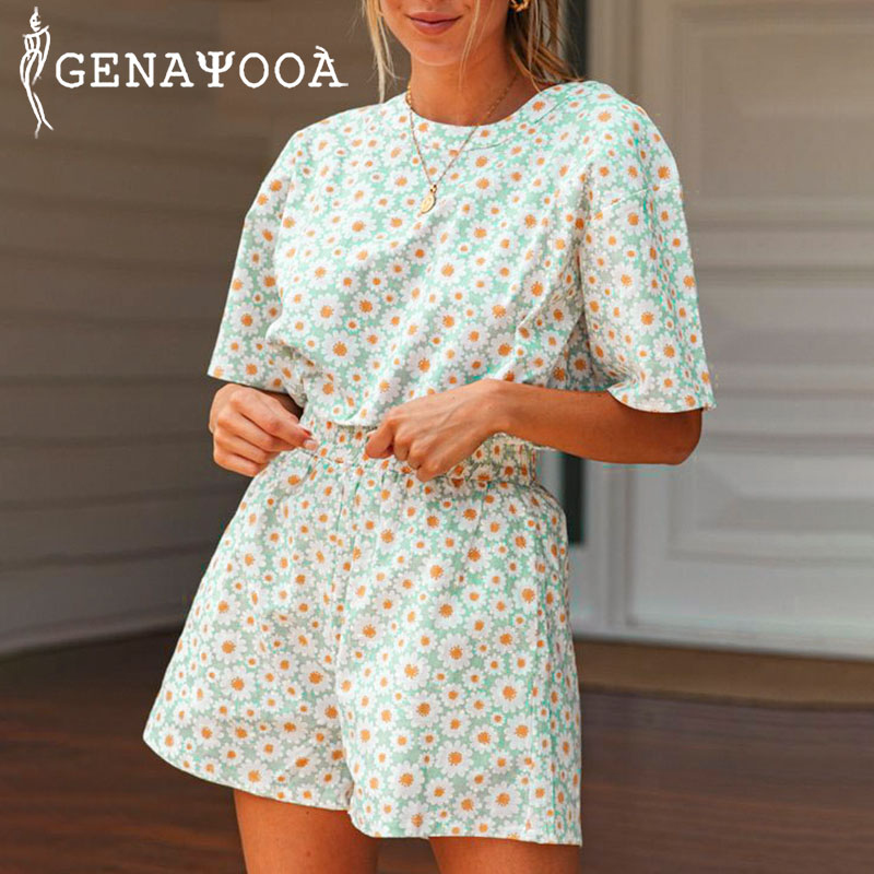 Genayooa Two Piece Set Top And Shorts Floral Elastic Waist Prairie Chic 2 Piece Set Women Boho Beach Tracksuit Women 2020 Summer