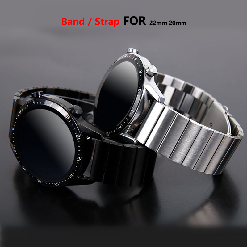 Huawei Watch GT/2 Strap For Samsung Galaxy Watch 46mm/42mm/Active 2/Gear S3 Frontier Band 20/22mm Stainless Steel Metal Bracelet