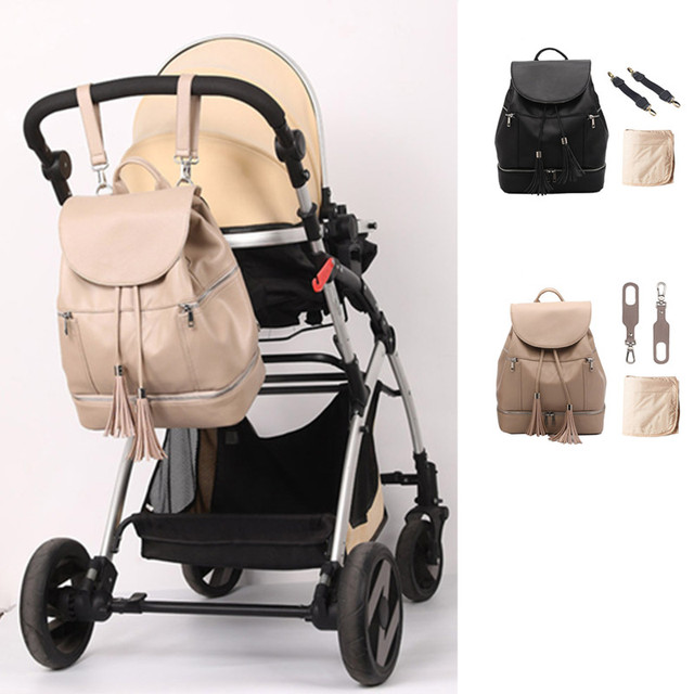 PU Leather Baby Diaper Bag Backpack Mommy Maternity Changing Pad Stroller Straps Nappy Backpack For Mom   Happy Baby Mama