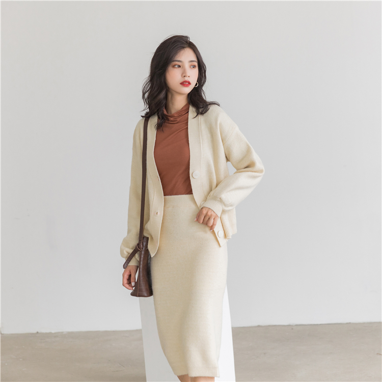 H630ac08b12514a80bb8dbdb2ac89851ap - Autumn / Winter V-Neck Cardigan and Solid Midi Pencil Skirt
