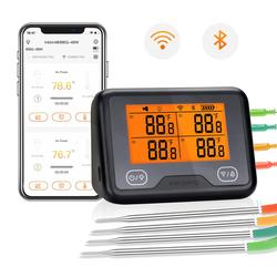 Inkbird IBBQ-4BW Wi-Fi&Bluetooth Digital Grill Thermometer Rechargeable Wireless BBQ Thermometer with 4 Probes Temp Graph Alarm\