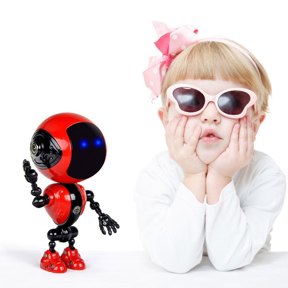 New Rechargeable Kids Touch Sensor LED Music Smart Mini Alloy Robot With Movable Joints USB Charging Toys For Children Gifts N20