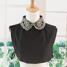 Linbaiway – chemise femme Faux col amovible, Faux Cols pour dames, pull noir à revers, Faux chemisier détachable, demi-chemise