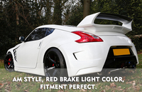For Nissan 370z Z34 FRP Fiber Glass AM Style Rear Wing With Brake Light Fiberglass Type Amuse Trunk Spoiler