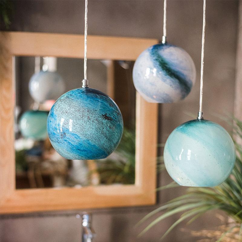 Nordic Glass Earth Pendant Lights Lamp Planet Lighting Living Room Cafe Hanglamp Kitchen Bedside Bedroom Bar Loft Pendant Lamp