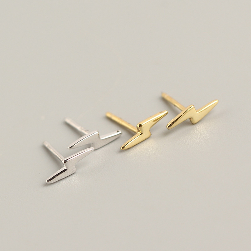 WTLTC 925 Sterling Sliver Small Lightning Bolt Stud Earrings Minimalist Tiny Cartilage Earrings Hypoallergenic Studs Earrings