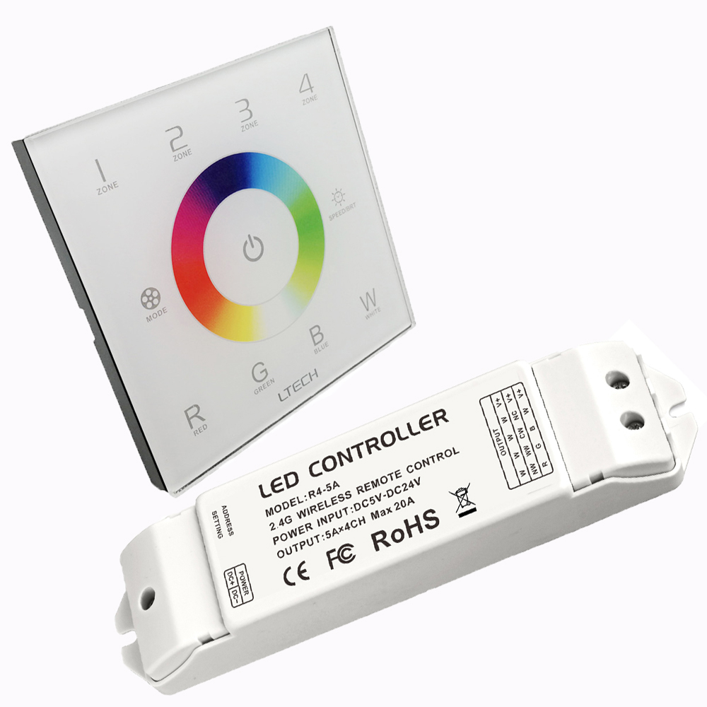 New LED DMX512 and 2.4GHz RF Wireless Multi Controller 110V 240V Glass touch panel 4 zones  with R4 5A CV Receiver|rf wireless|glass touch panel|4 zone - title=