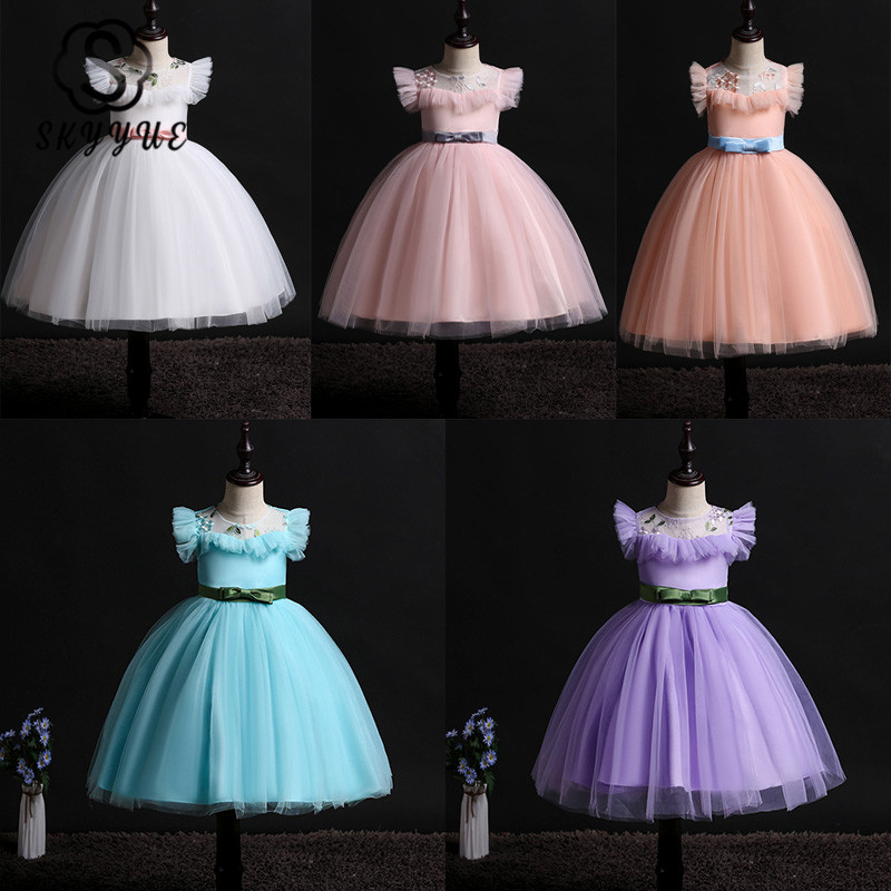 Skyyue Flower Girl Dress For Wedding Embroidery Tulle Tank Ball Gown O-neck Sleeveless Ruffles Kid Princess Party Dress 2019 837