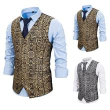 PUIMENTIUA New Male Gold Steampunk Slim Fit Single Breated Wedding Sleeveless  Vests For Men Buttons Waistcoat