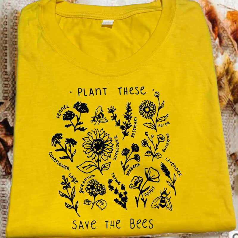 Plant These Harajuku Tshirt Women Causal Save The Bees T-shirt Cotton Wildflower Graphic Tees Unisex Clothes Female T-shirts