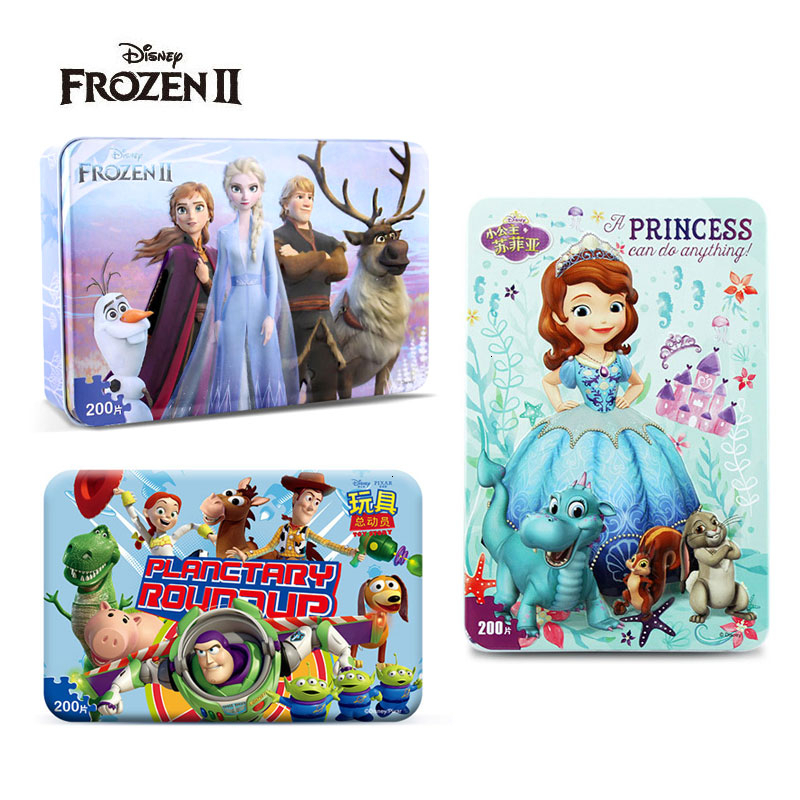 Hot Sale Disney Frozen Car Disney 200 Piece Slice Small Puzzle Toy Children Wooden Jigsaw Puzzles Kids Educational Toys For Baby