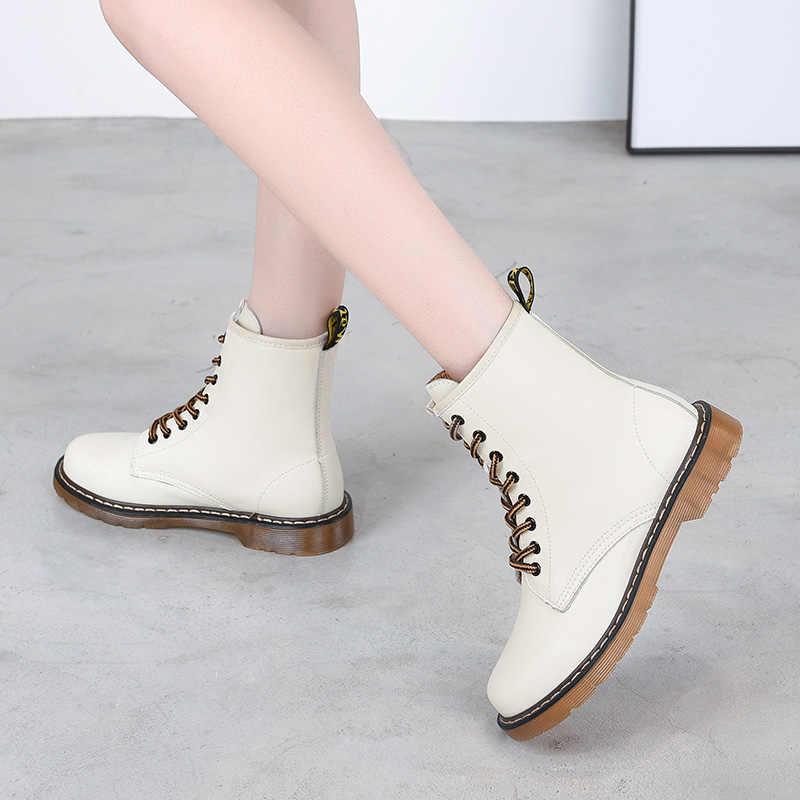 2019 Nieuwe Winter Laarzen Vrouwen Britse Stijl Enkellaars Lederen Laarzen Vrouw Zwart Comfortabele