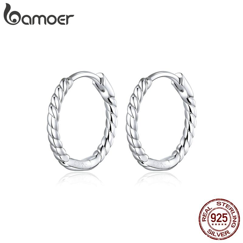 Bamoer Minimalist Design Hoop Earrings For Women 925 Sterling Silver Weaving Geometric Design Fashion Jewelry Bijoux SCE841
