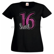 Sweet Sixteen Glitter printed effect Ladies PRINTED T-SHIRT Text 16 Cool Casual pride t shirt men Unisex New Fashion tshirt(China)