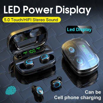 3500mAh LED Bluetooth Wireless Earphones Touch Control Earbuds Sports Waterproof Earbuds Noise Cancel Headsets With Microphone 1