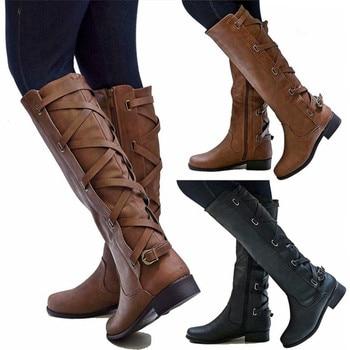 De cuero de las mujeres hasta la rodilla botas de moda Cruz correa de invierno de tacón bajo Botas Largas lado Occidental cremallera hebilla botas negras para motocicleta