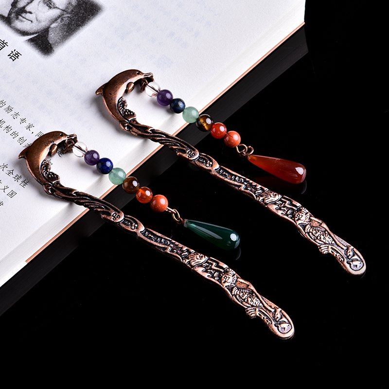 1PC Natural Crystal Seven Chakra Dolphin Bookmark Book Label Stationery Gift Student Bachelor Supplies DIY Gift Mineral Jewelry