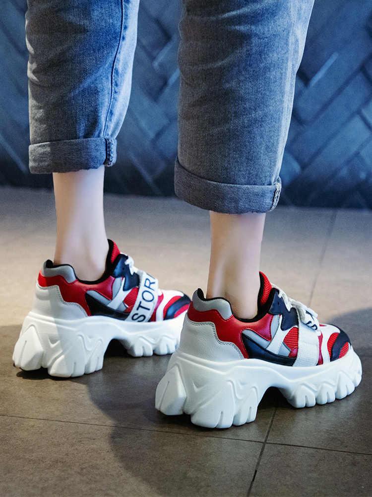 محطة الأوروبية أحذية نسائية 2019 جديد صافي الأحمر توري أحذية النساء ins الخريف سوبر النار مهرج زيادة سميكة أسفل رياضية