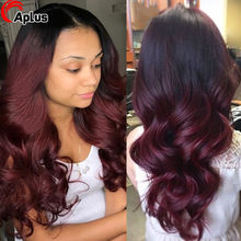 Perruque Lace Front Wig Body Wave naturelle, cheveux humains, rouge bordeaux ombré blond 1b 99j, 13x4, 4x4, pour femmes