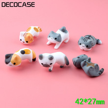 DECOCASE 6pcs/lot Lovely Cat Crafts Slime Charms Beads Headwear Flatback Crafts Ornaments Decoration Phone Case DIY Accessories