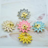 new 38 mm color enamel daisy bee bee Sunflower insect brooch crystal brooch for gift