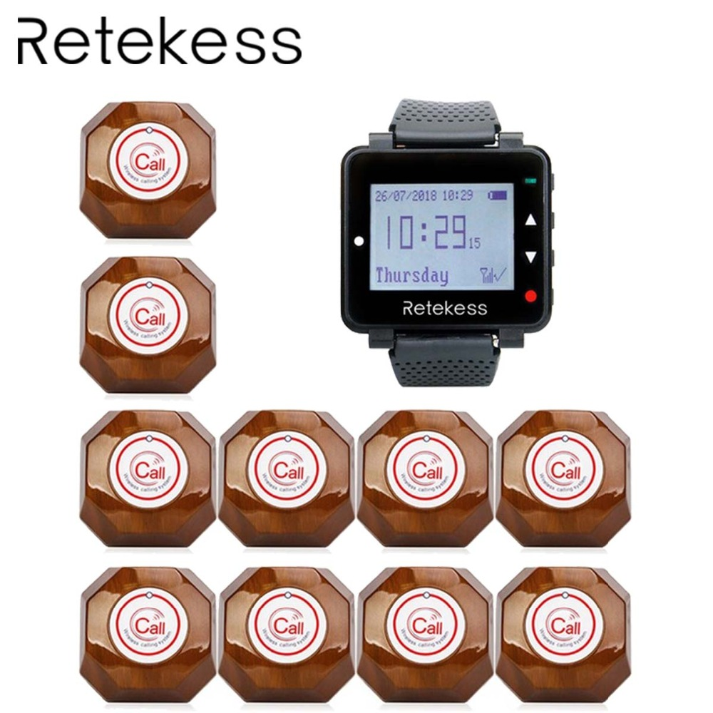 RETEKESS Waiter Wireless Calling System Table Call Bell Pager For Restaurant 1 Watch Receiver + 10 Call Button Buzzer Beeper-in Pagers from Computer & Office