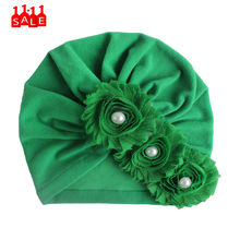 three Floral Pearl women's green hat Baby Fashion Sun Flower Hat Newborn Cap Fetal Cap Basin Warm Girl Boys Cute Hat chapeau #ZD(China)
