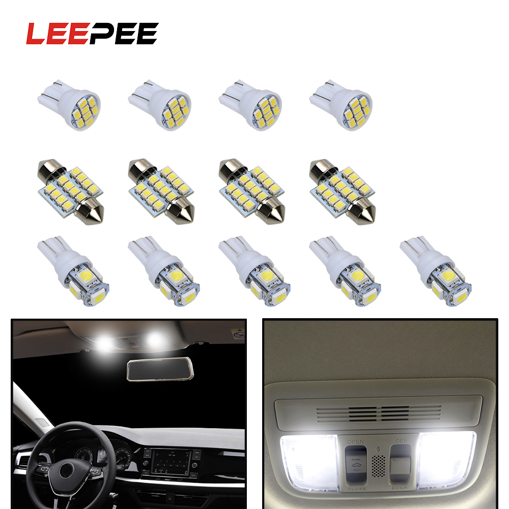 LEEPEE 13 Piece/set T10 5050 5smd 12V 31mm 12smd T10 1206 8smd Reading Dome Lamp License Plate Bulbs LED Car Clearance Lights