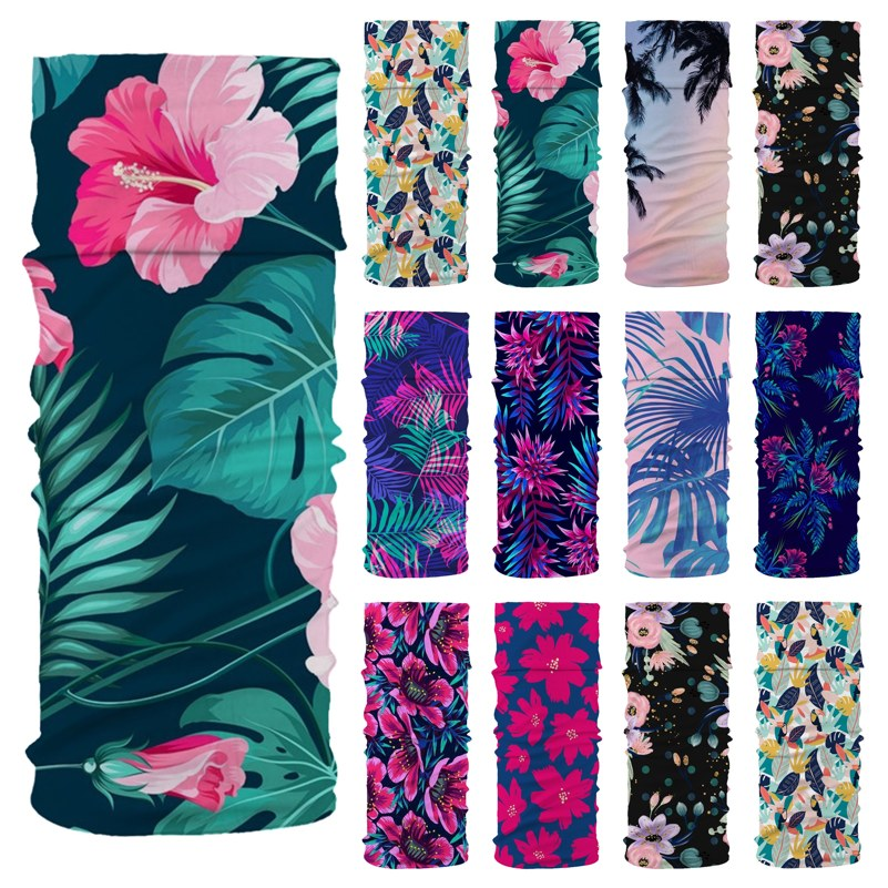 Flower Leaf Print Bandanas Tube Head Neck Gaiter Face Shield Sport Camping Cycling Fishing Magic Headband Scarf Men Women Masks
