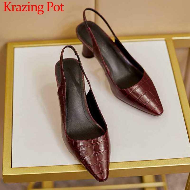 Krazing Pot büyük boy baskı hakiki deri moda marka yüksek topuklu küçük kare ayak kayma olgun kadın slingback pompaları l12