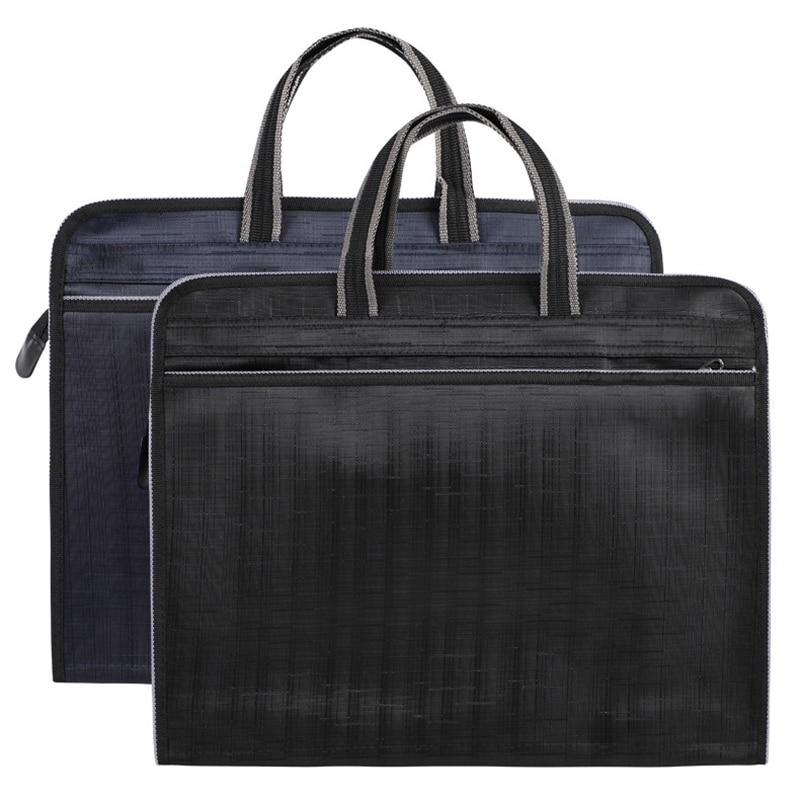 Men's Briefcases Portable Document Bag A4 Office Zipper Bag Large Capacity Business Handbags Men Double Layer Work Meeting Bag