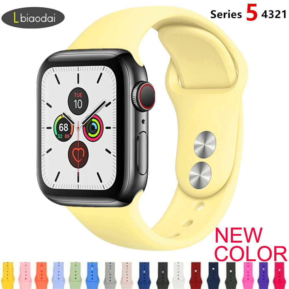 Tali untuk Apple Watch Band 38 Mm 42 Mm IWatch 4 Band 44 Mm 40 Mm Olahraga Silikon Gelang Sabuk apple Watch 5 4 3 2 Aksesoris Tali