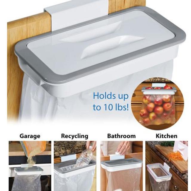 Kitchen Accessories Supplies Kitchen Trash Bag Storage Rack Cupboard Kitchen Bathroom Hanging Holders Trash Toy Food Container