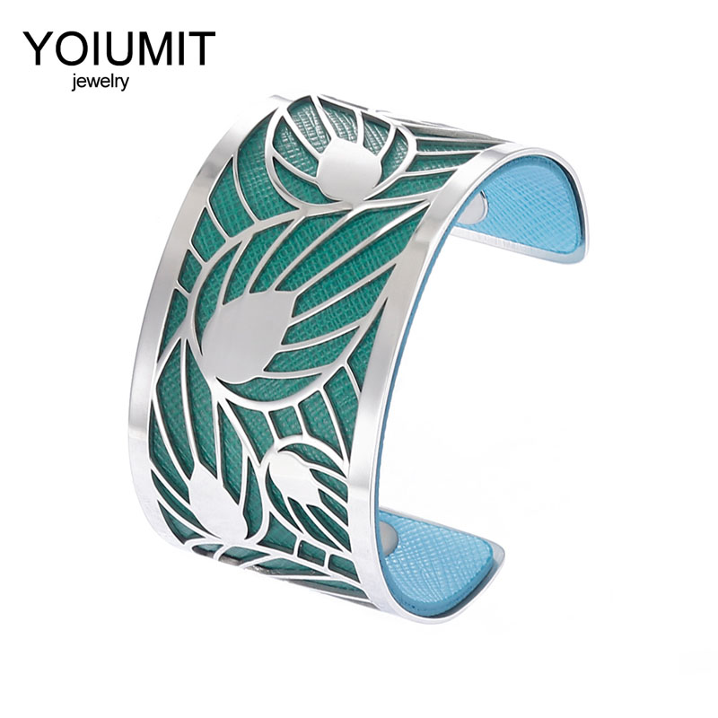 Cremo Wide Hollow Leaf Arm Bracelet Argent Cuff Bangles For Women Jewelry Stainless Steel Bracelets Reversible Leather Pulseira