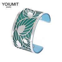 Cremo large feuille creuse bras Bracelet Argent manchette Bracelets pour femmes bijoux en acier inoxydable Bracelets réversible en cuir Pulseira