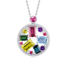 Silver necklace female, seven color gemstone pendant platinum plated silver circular colorful gems