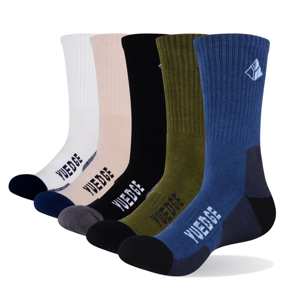 YUEDGE 5 Pairs Men Cotton Comfortable Cushion Sports Athletic Hiking Cycling Runing Crew Dress Socks