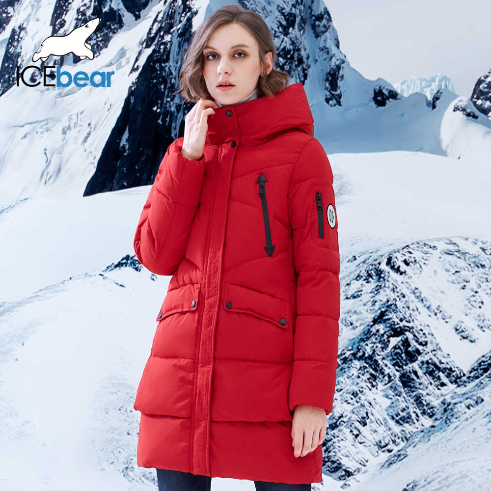 ICEbear 2019 New Women Winter Jacket Coat Slim Winter Quilted Coat Long Style Hood Slim Parkas Thicken  Outerwear B16G6155D
