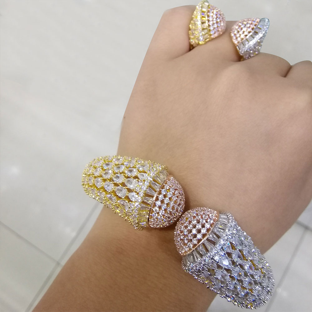 GODKI Luxury African Bangle Ring Sets Fashion Dubai Silver Bridal Jewelry Sets For Women Wedding brincos para as mulheres 2019
