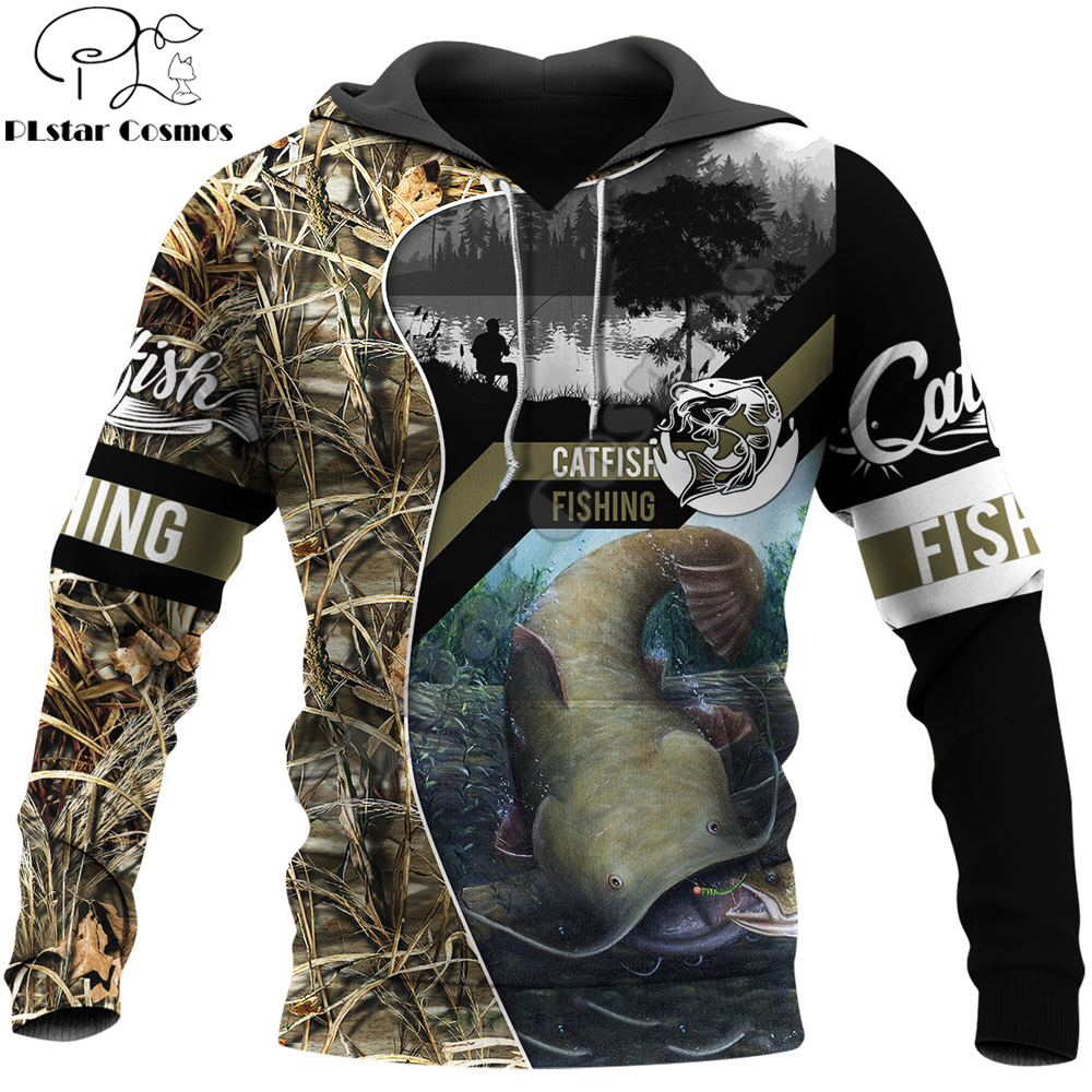 Catfish Fishing 3D Printed Mens Hoodie Harajuku Streetwear autumn hoodies Sweatshirt Unisex Casual Jacket Tracksuits KJ0110