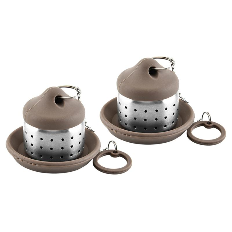 Stainless Steel Tea Filter Strainer with Lid Tray//Tea Filter Infuser Steeper//Teapot Shape